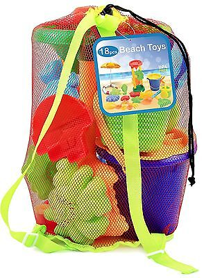 Beach sand Toy Set Bucket Shovels Rakes Sand Wheel Watering Can Molds 18 Piece