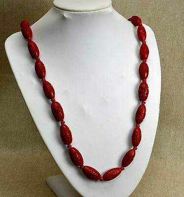 Antique Chinese Red Cinnabar Hand Carved Beaded Necklace 29 Inches