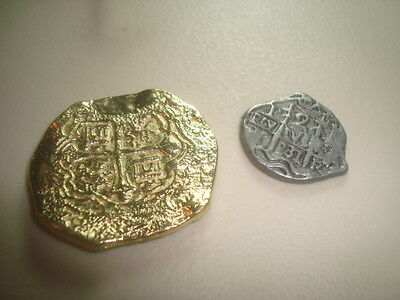 Shipwreck Treasure Gold Dubloon & Silver Piece Of Eight Authentic Replica Coins