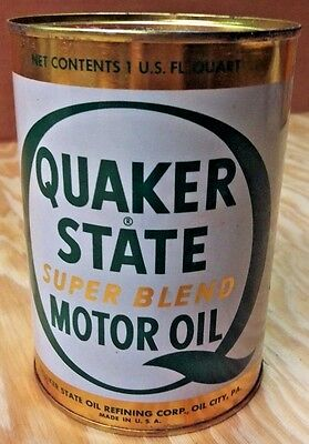Vintage Unopened Quaker State Super Blend Motor Oil Can - Sae 10W-20W-30 Hd