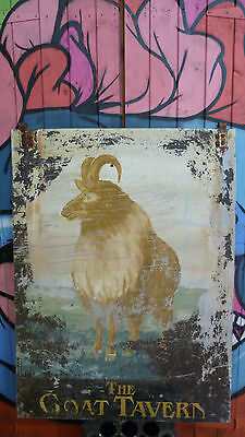 Vintage Antique Old Metal Pub Sign Interior Design GOAT TAVERN animal Taxidermy