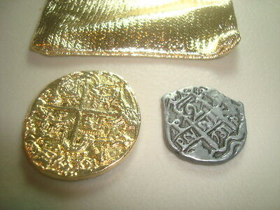 Shipwreck Treasure Gold Dubloon & Silver Piece Of Eight Authentic Replica Coins*