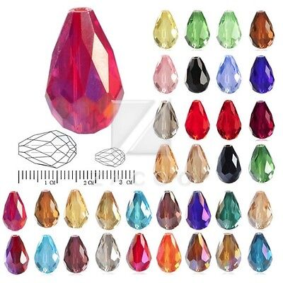 50pcs/72pcs Crystal Beads Loose Spacer Teardrop Faceted Jewelry Craft 6mm 10mm