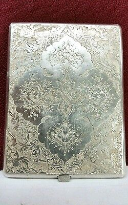 Antique Decorated  Persian silver 84 Cigarette Case