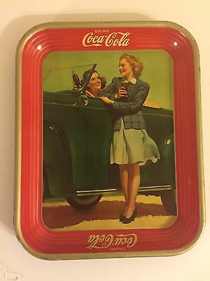 1942 Coca-Cola Two Girls And A Car Serving Tray Vintage Coke American Original