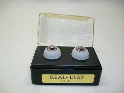 "*NEW* 1992 Secrist Real Eyes  FULL ROUND ""Gray"" 16mm IN CASE Reborn Dolls"