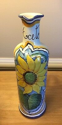 Leoncini Italy Hand Made And Painted Ceramic Oil Bottle Signed