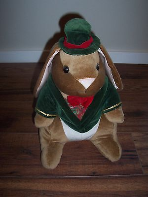 "1985 VELVETEEN RABBIT Plush 15"" Tall GUY BUNNY Green Hat & Jacket VINTAGE"