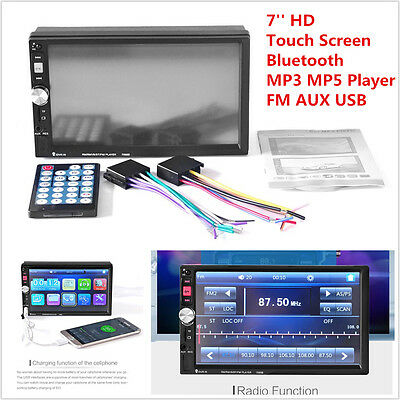"""7"""" HD 2DIN Car Video MP5 Player Bluetooth Touch Screen Stereo Audio Radio FM AUX"""