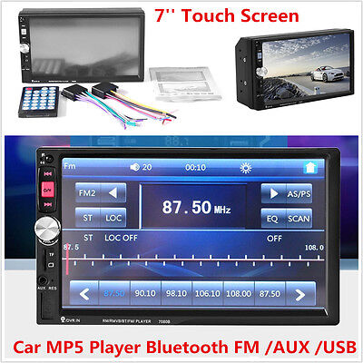 HD 7'' Touch Screen 2Din Car MP3 MP5 Player FM Bluetooth Stereo Radio USB TF AUX