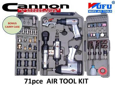 71pc Air Impact Wrench Ratchet Rattle Gun Die Grinder Pneumatic Tool Set Kit