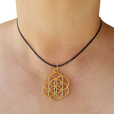 Flower of Life Pendant Seed of Life Necklace Round Gold Tone with Black Cord