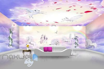 3D Unicorn Rainbow Castle Wall Murals Wallpaper Wall Paper Decals Art Print Deco
