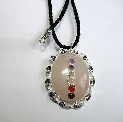 BLACK FRIDAY OFFER Rose QUARTZ Oval CHAKRA Pendant & Bail with Cord XMAS GIFT