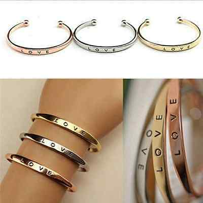 Stainless Steel Men Women Screw Hand Fashion Love Wedding Cuff Bangle Bracelet