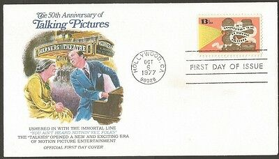 Us Fdc 1977 50Th Anniversary Year Of Talking Pictures 13C First Day Of Issue