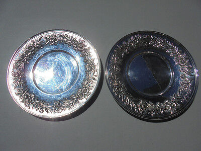 """Pair Kirk Stieff Silverplate Repousse Roses & Flowers Dinner Plates 10"""" #1727"""