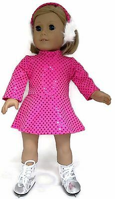 Doll Clothes fits 18 inch American Girl-Hot Pink Sequin Skating Dress & Earmuffs