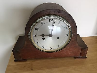 Vintage Wooden Mantle Striking Clock.