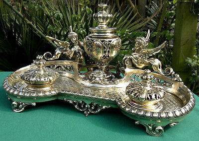 Antique Inkwell Ornate Brass Mythical Sphinx Maiden Desk Inkstand Inkwell c1870