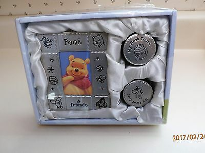 Pooh Baby Keepsake Set, Picture Frame, First Tooth and Lock of Hair Containers,