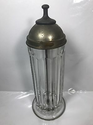 RARE Antique 1918 Soda Fountain Heavy Glass Straw Dispenser Holder