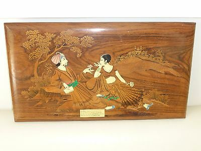 Old Walnut Bone Malachite Other Exotic Inlaid Tabletop w Rubaiyat Persian Poem