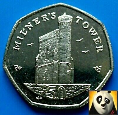 2007 ISLE OF MAN 50p Pence Milner 's Tower Unc Uncirculated Coin Key Date AA DM