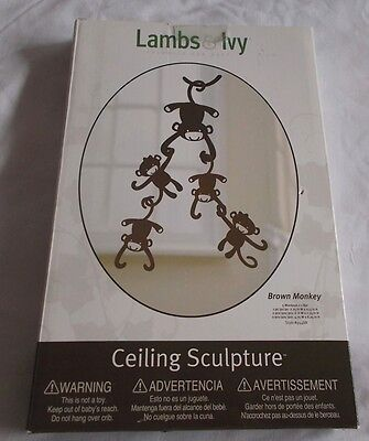Lambs & Ivy Brown Monkey Ceiling Sculptures Baby Crib Mobile Toy Nursery Decor