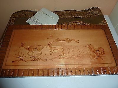 Shirley Harry Pyrographic Artist 36.8Cmlong Wood Plaque With 4 Springbok Picture
