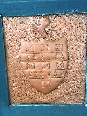 Old Copper Repousse Tyrrell Family Crest Of Arms Ireland VERITAS VIA VITAE