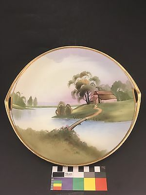 Antique Nippon Scenic Cake Plate Lake Bridge House Gold Beaded Morimura Noritake