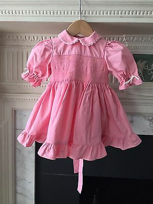 Vintage Baby Dress Pink Cotton Size:6 To 9 Months