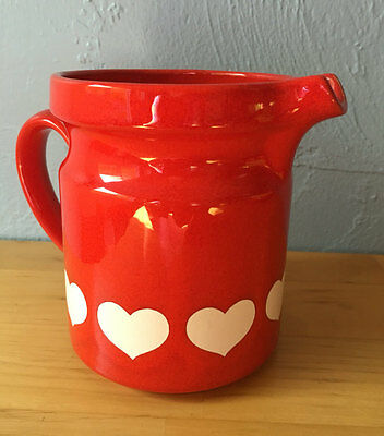 Vintage Waechtersbach Ceramic Pitcher Red with White Hearts West Germany Pottery
