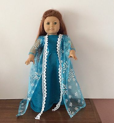 Blue Frozen Elsa Dress For 18 Inch American Girl Doll, Clothes