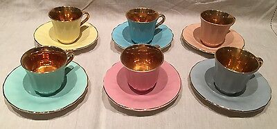 WADE Cups and Saucers Yellow Pink Blue Gold Grey Pastel Vintage Antique Retro
