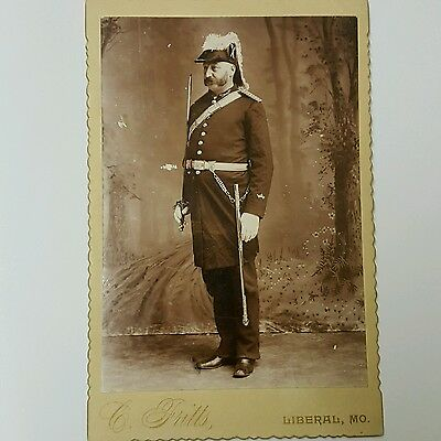 Odd Fellows IOOF Patriarch Militant Uniform Cabinet Card Photo 1890s Fraternal