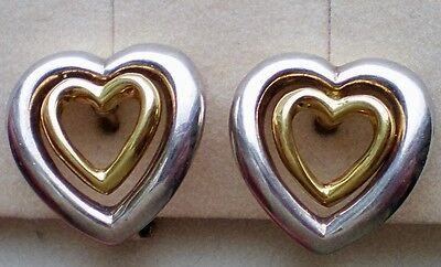 Designer 18K 750 Gold Sterling Silver 925 Double Heart Omega Back Earrings 8.2 g