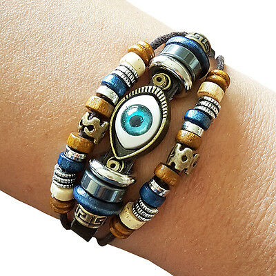 Handmade Tribal Hemp Evil Eye Leather Bracelet wristband Cuff