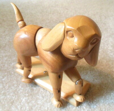 WOODEN ARTICULATED DOG Jointed Figure / Artist's Drawing Model / Wood Mannequin