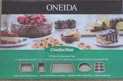 Oneida Confection 5 Pc Baking Bakeware Set Cake Loaf Cupcake Pans Cookie Sheet