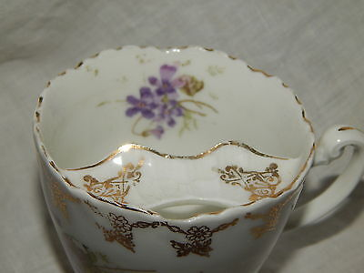Antique Kpm Berlin Porcelain Moustache Cup With Violet Design