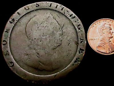 S937: 1797 George III Copper Cartwheel TWOPENCE - unbelievably well circulated!