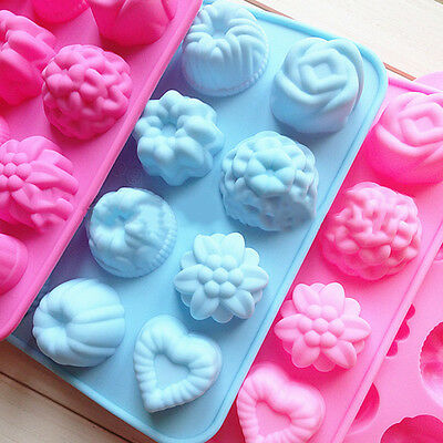 Silicone Muffin Tray Candy Cookie Jelly Mold 12 Flowers Chocolate Moulds Baking