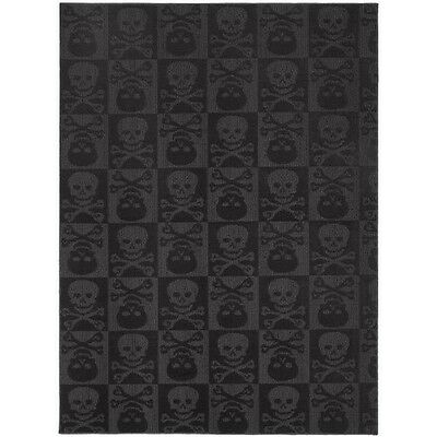 Garland Rug Skulls Area Rug, 5-Feet by 7-Feet, Black