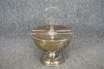 """Silver-Plated Double Sided Footed Serving Bowl 8 1/2"""" Wide With 2 Lids"""