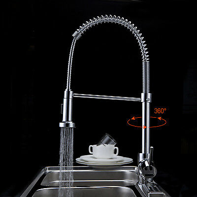 """NEW 21"""" Single Handle Spring Pull-Down Kitchen Faucet, Brass Finish"""