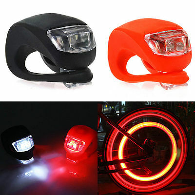 2X Silicone Bike Bicycle Cycling Head Front Rear Wheel LED Flash Light Lamp QE