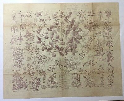 """Antique large Russian embroidery & dress paper pattern/chart 31""""x25"""" 1889 [p3]"""