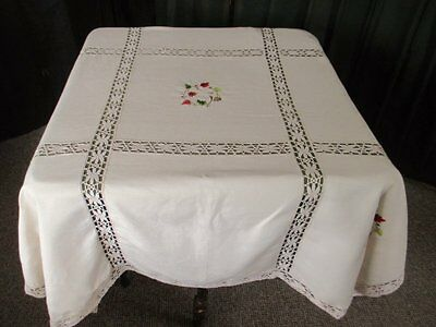 "VINTAGE TABLECLOTH EMBROIDERY & LACE DECORATION-LINEN-54""sq.UNUSED"